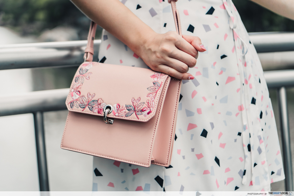 charles & keith cny collection - floral embroidered turn lock bag