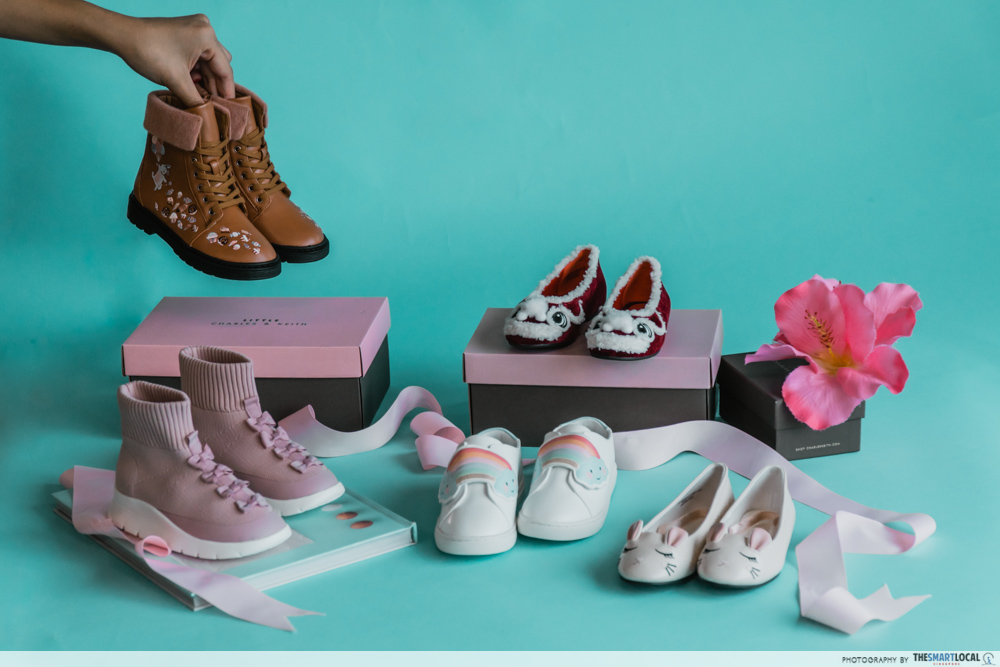 charles & keith cny collection - kid shoes collection featuring ballerina flats, sneakers, sock shoes, boots