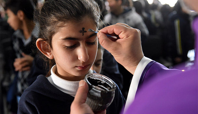 Ash on forehead Ash Wednesday