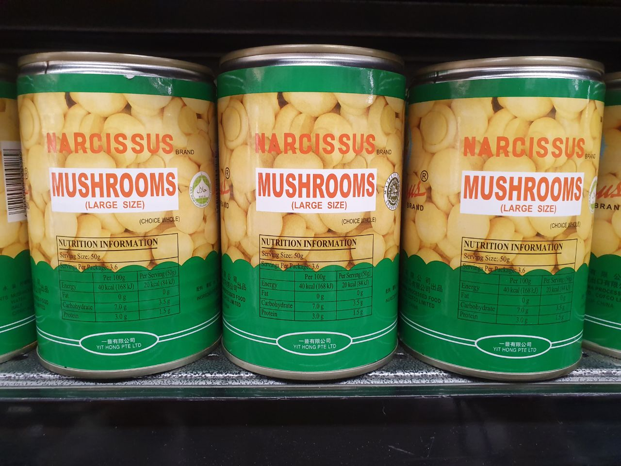 Canned food - whole mushrooms