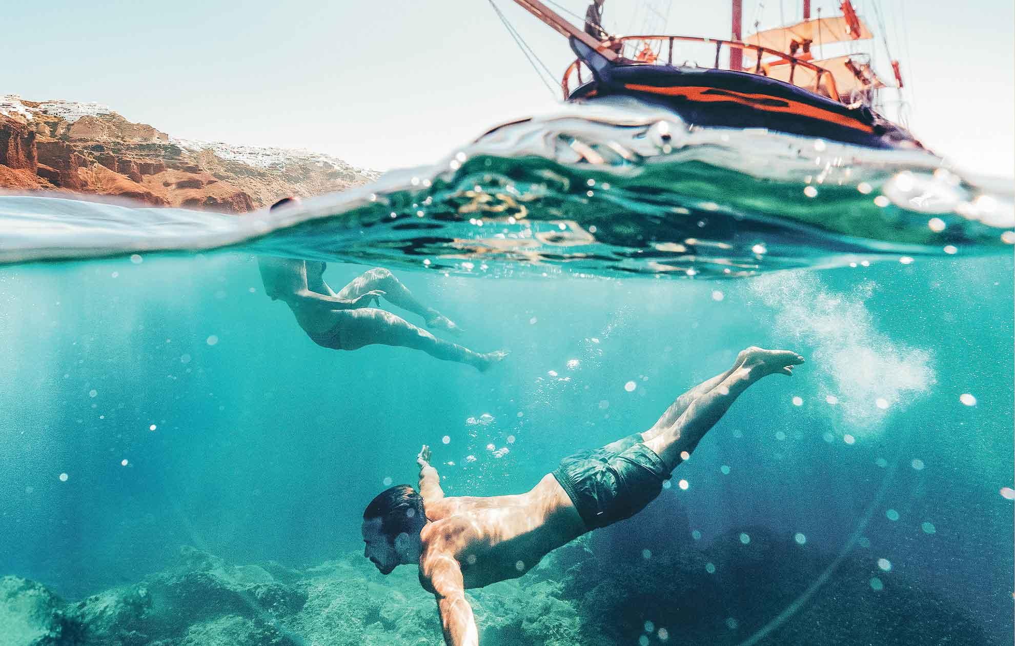 swimming in active volcano santorini