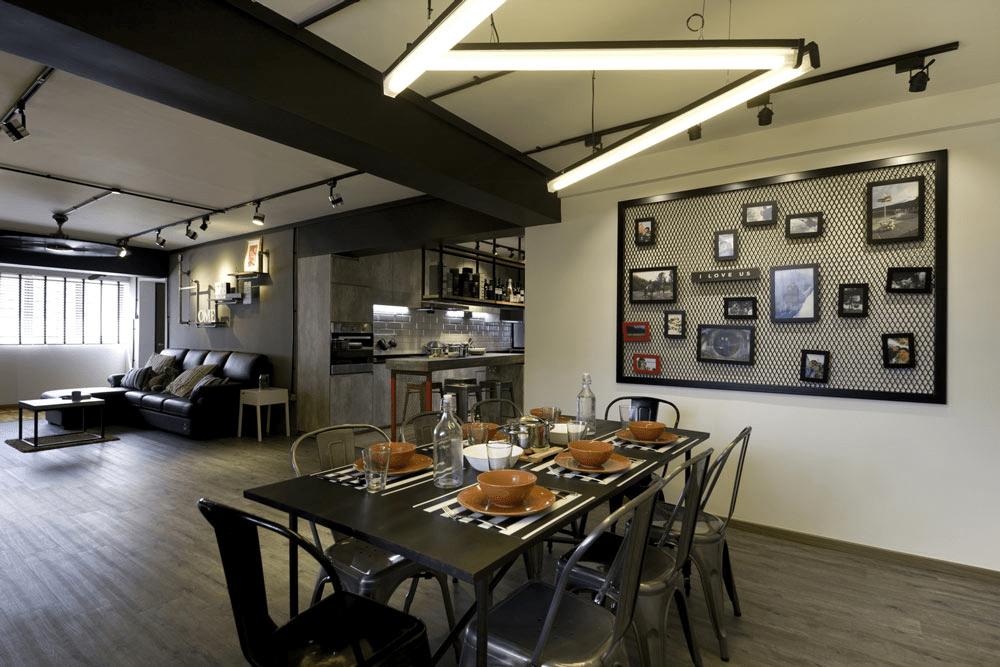 HDB renovation idea for Industrial dining room