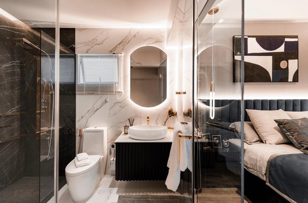 Pastel themed house's elegant bathroom