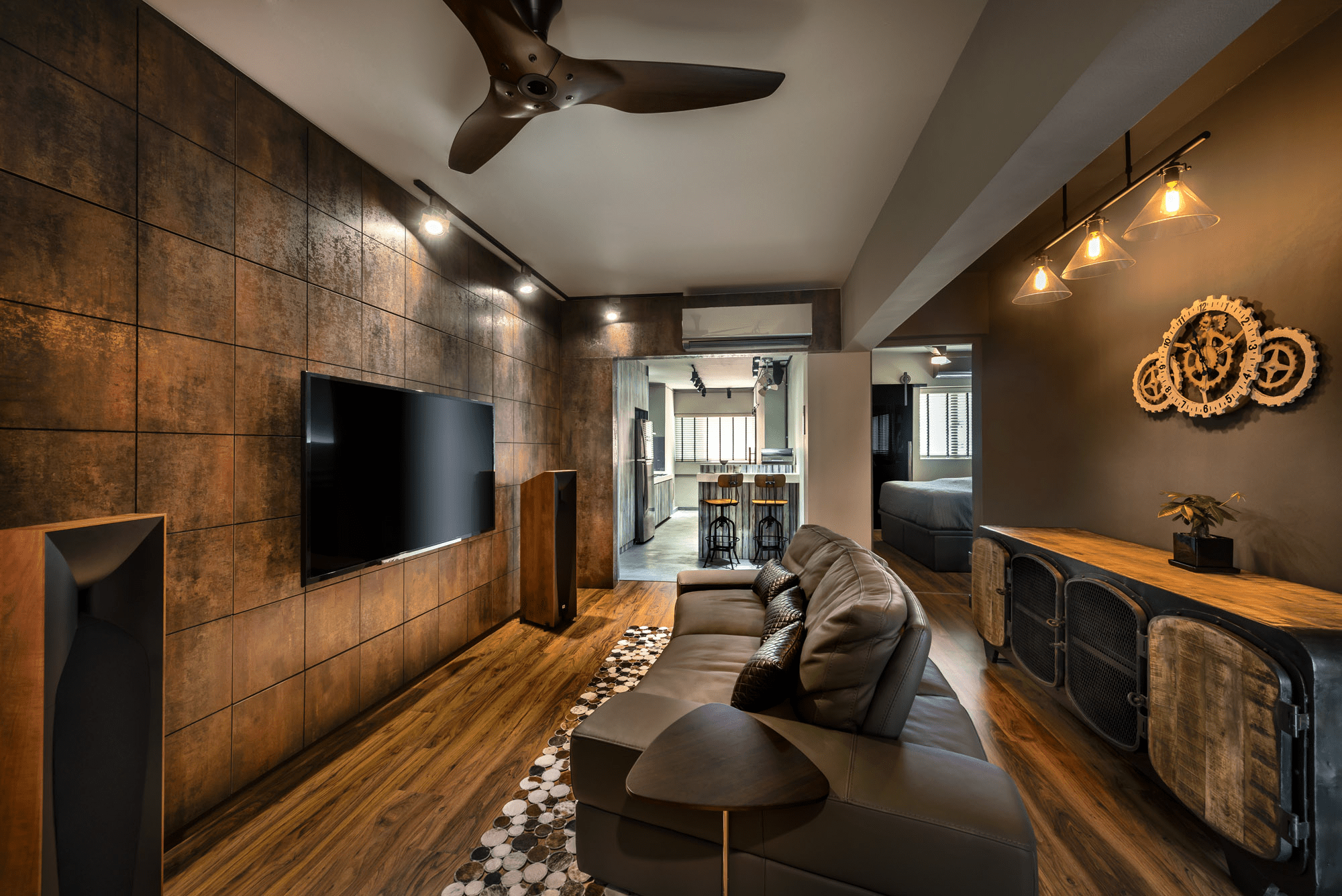 HDB renovation idea for Luxe woody living room