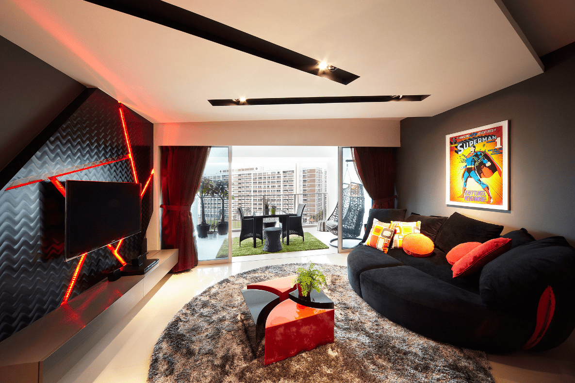 HDB renovation idea for Club-themed living room