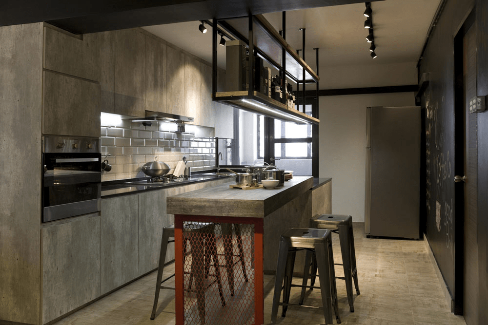 Industrial-styled kitchen