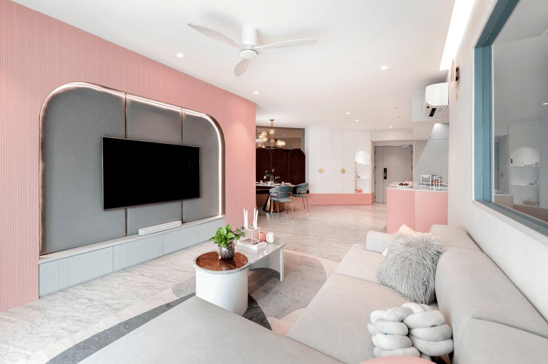 HDB renovation idea for Pastel-themed living room