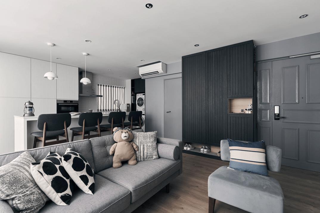 HDB renovation idea for Monochrome living room