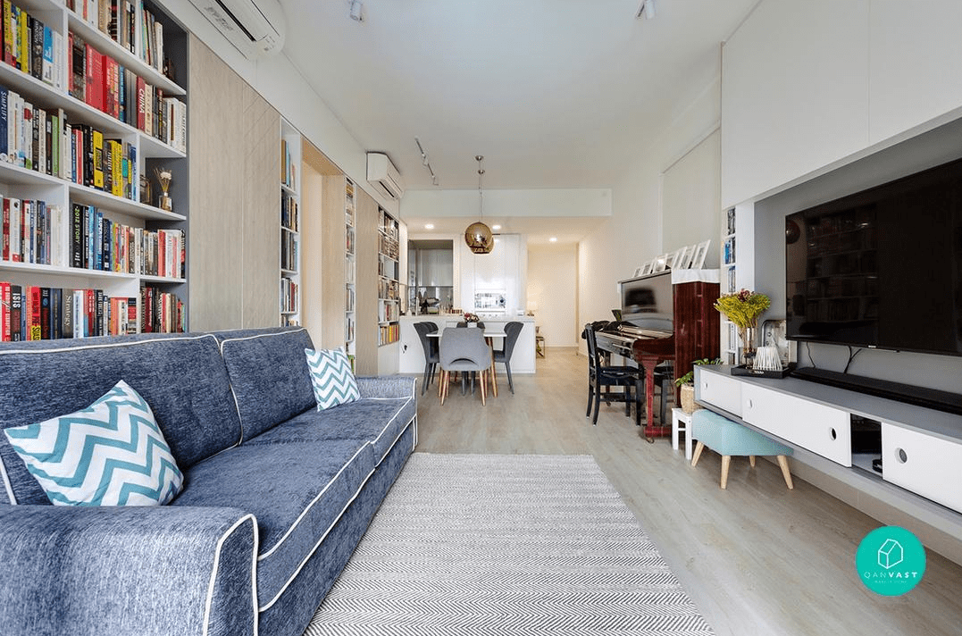 HDB renovation idea for Book lover's living room