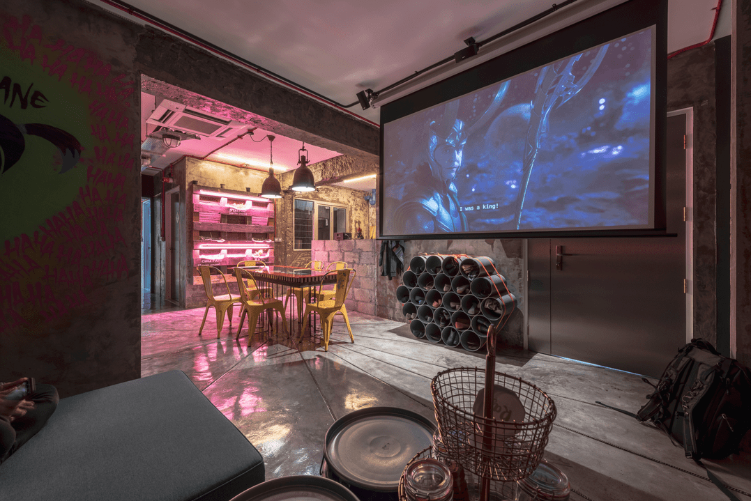 Hipster living room with projector