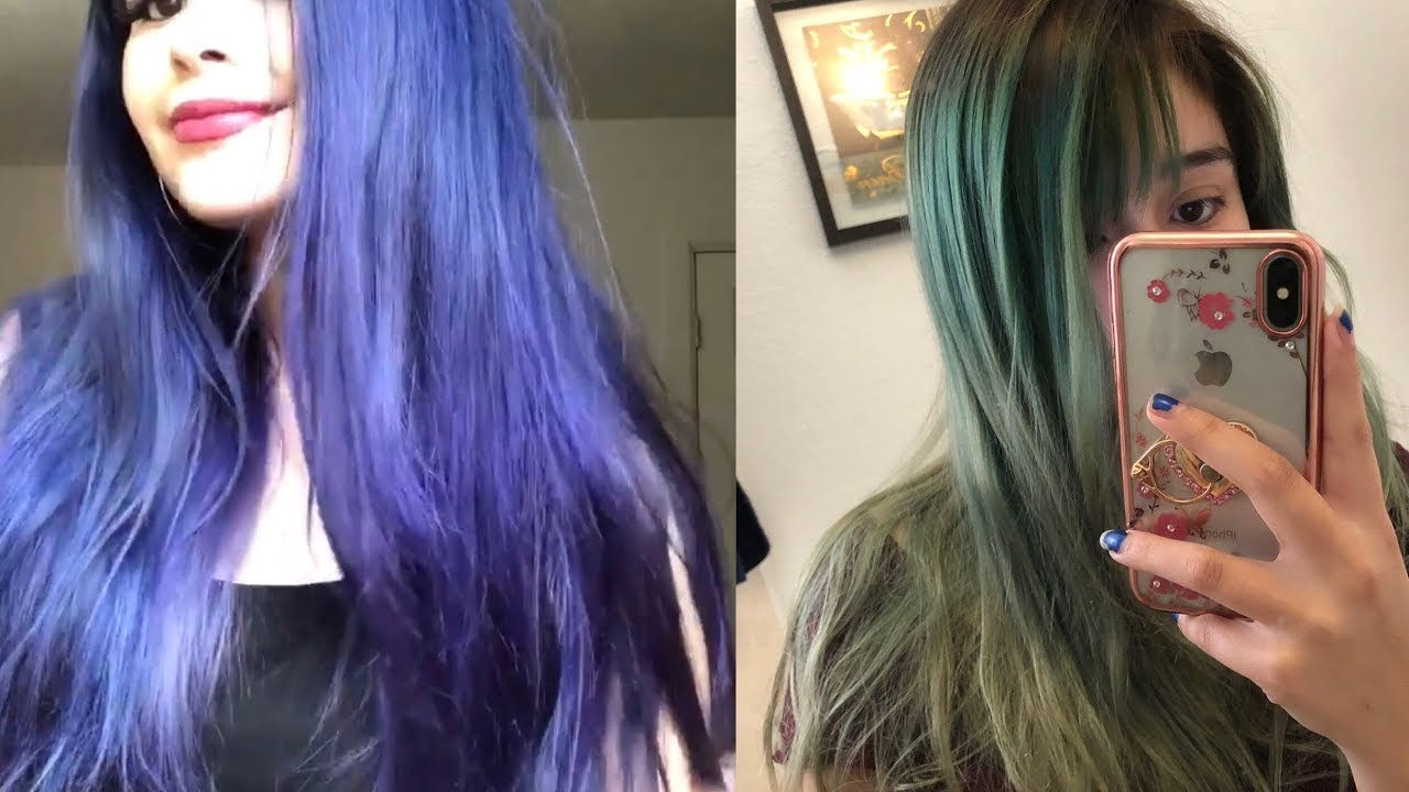Purple hair fading to green