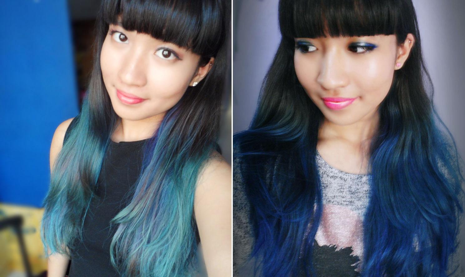 Purple hair fade to green