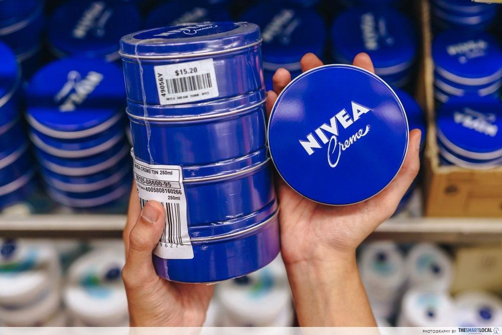 Nivea Creme is a cheap skincare option in Mustafa Centre.