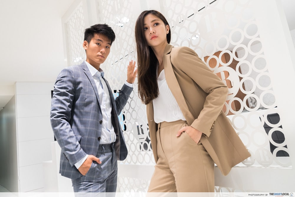 beige and patterned suits