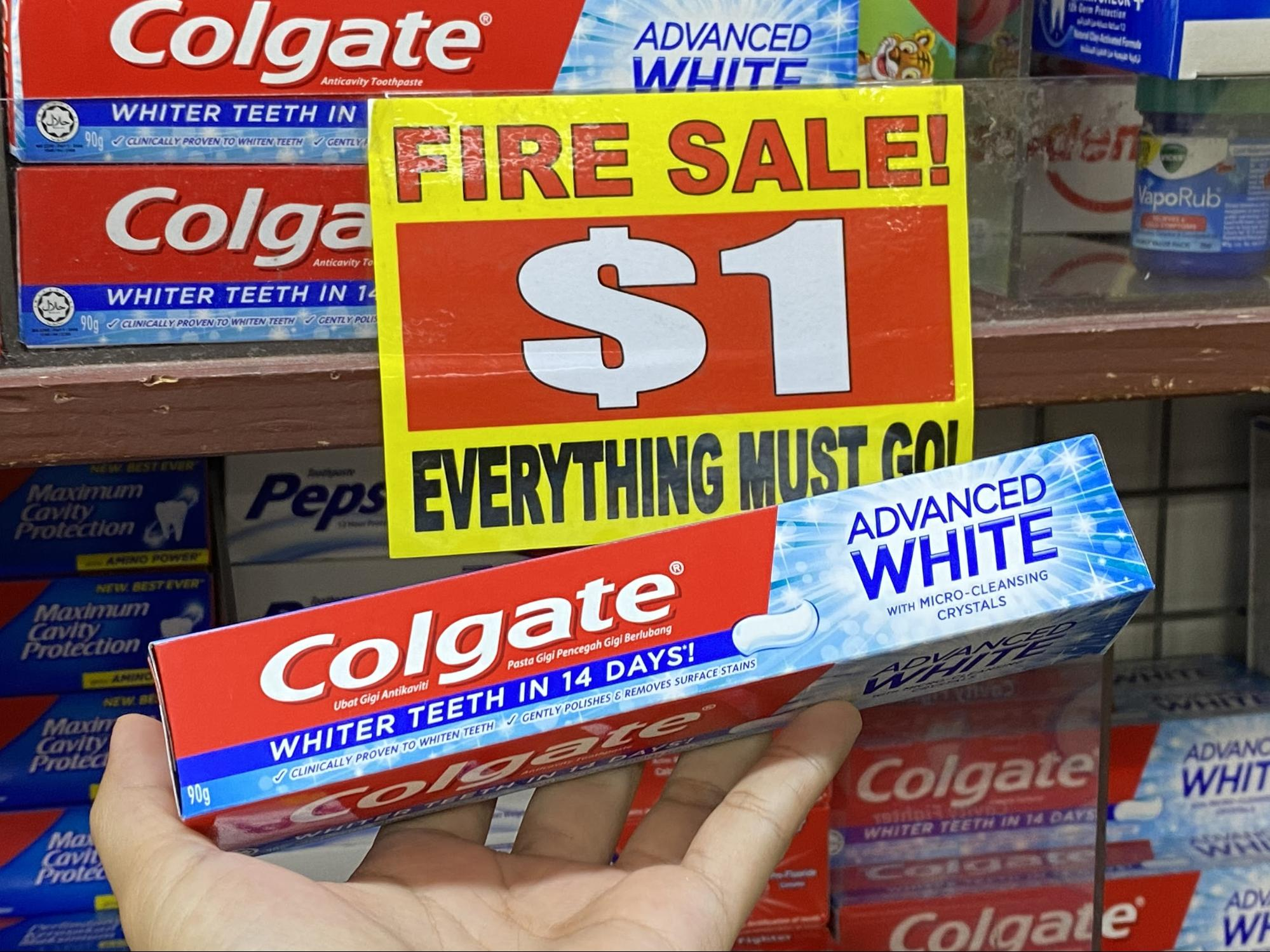 Colgate toothpaste at the value dollar store.