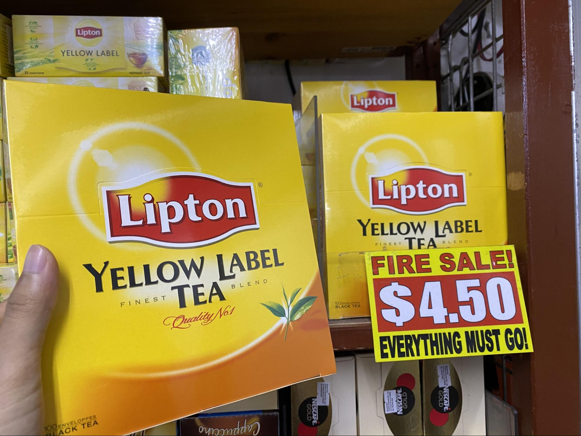 Yellow Label Lipton Tea at the value dollar store in Singapore