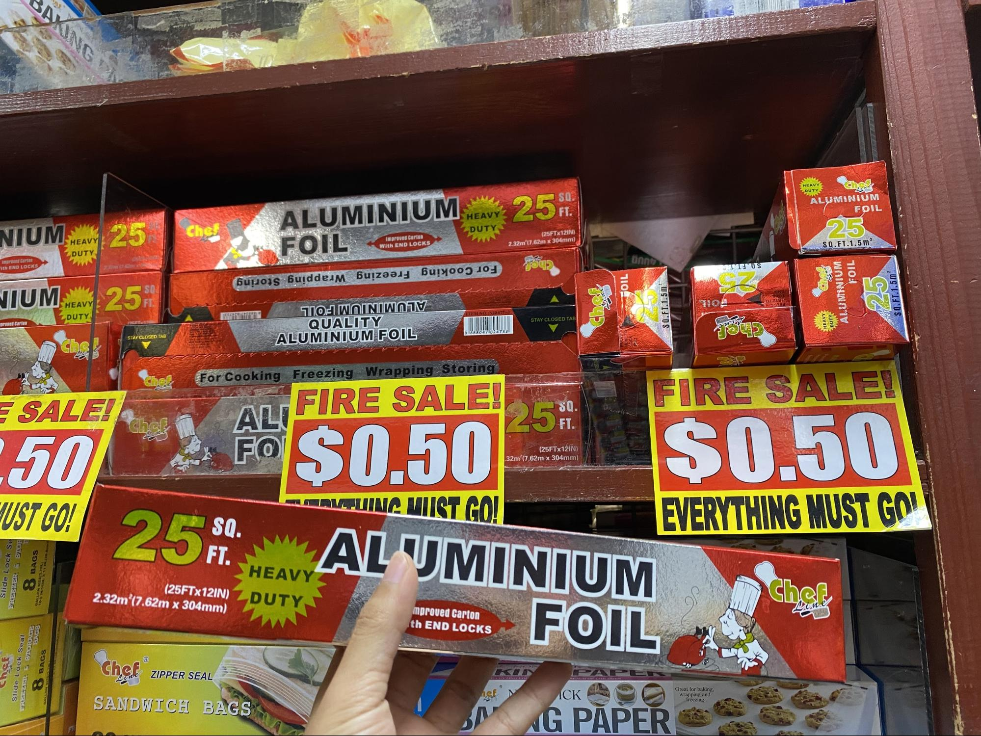 Aluminium foil at the Value Dollar store.