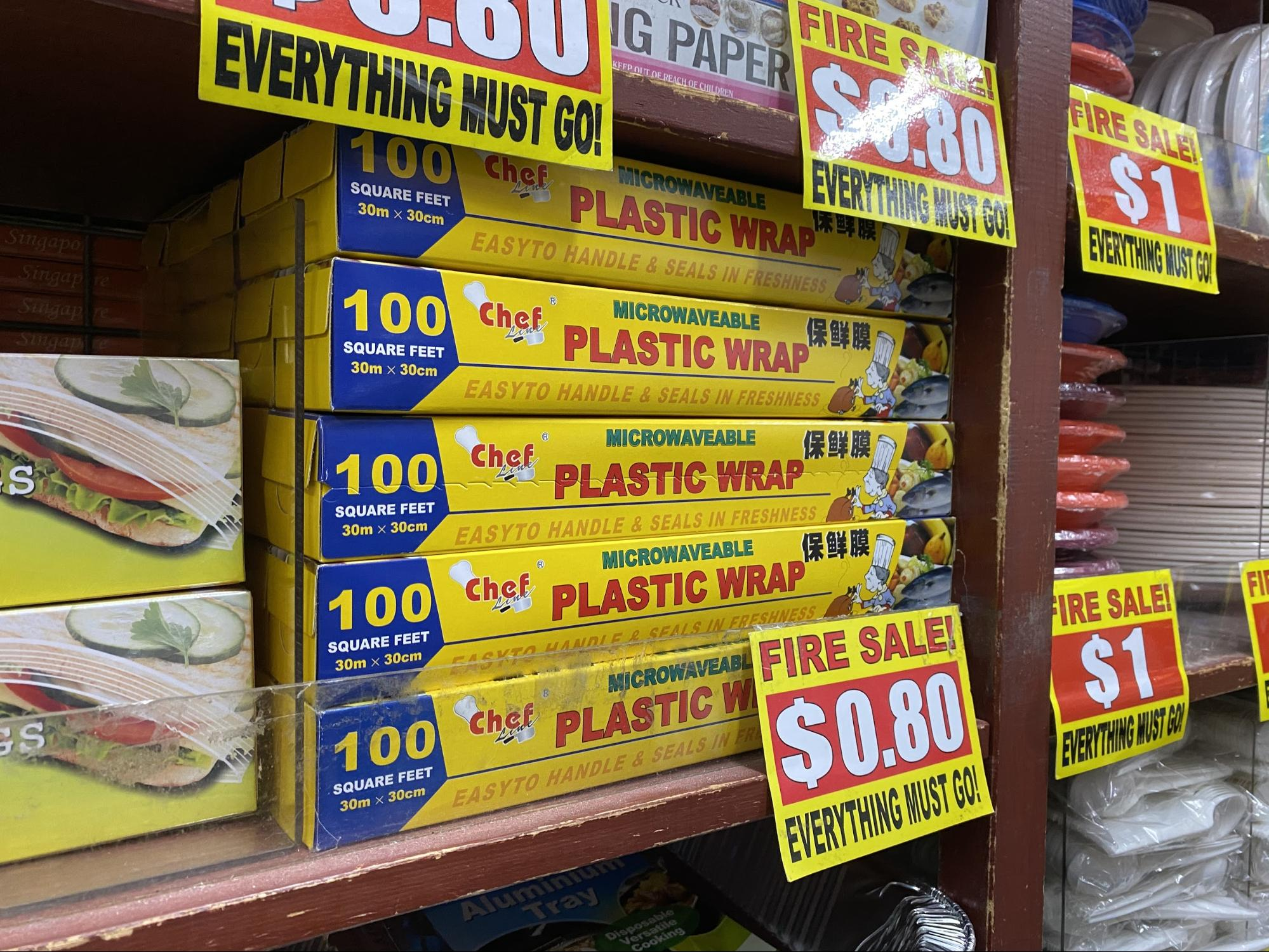 Plastic wrap at the Value Dollar store.
