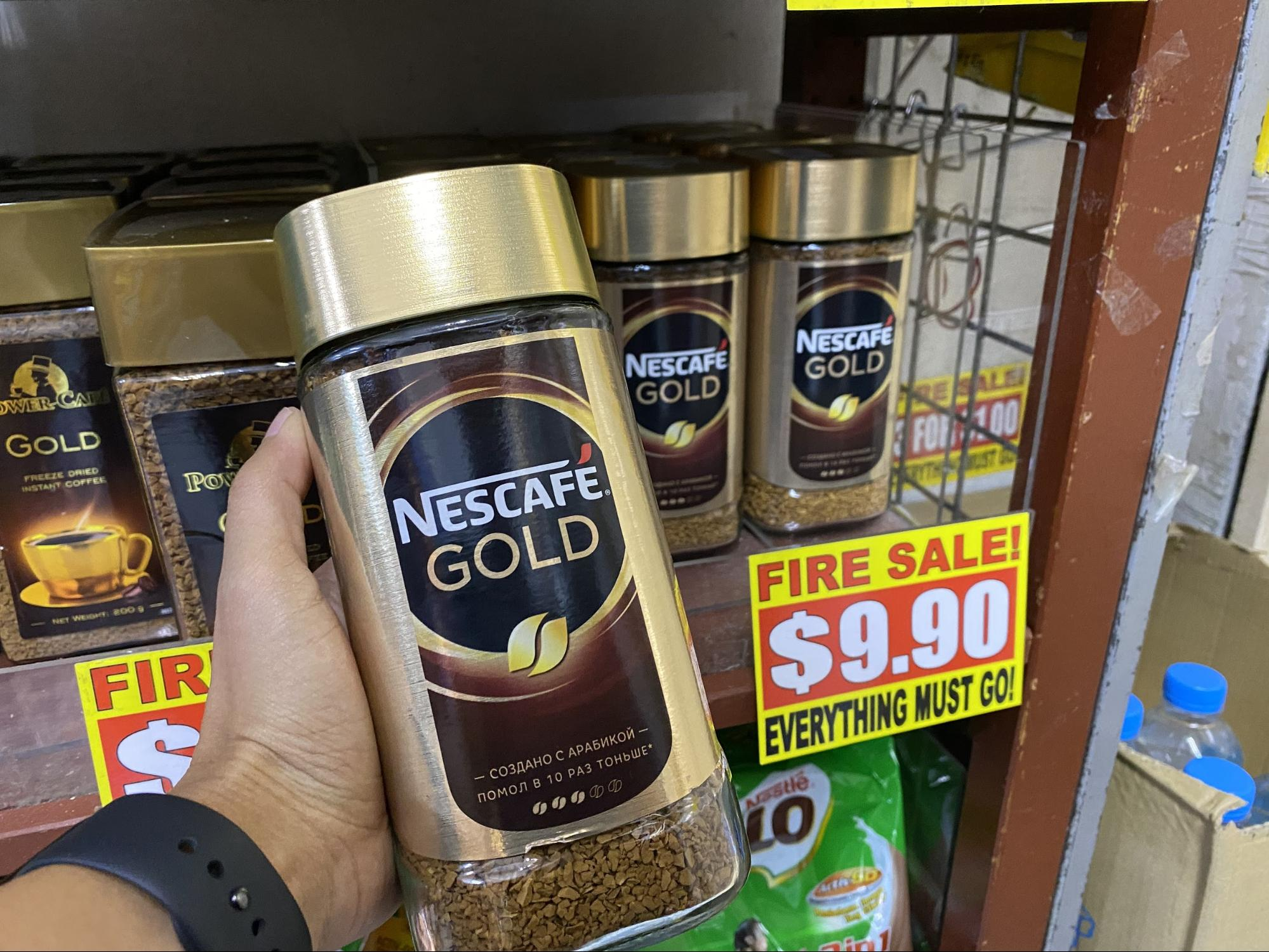Nescafe Gold soluble coffee at the value dollar store in Singapore