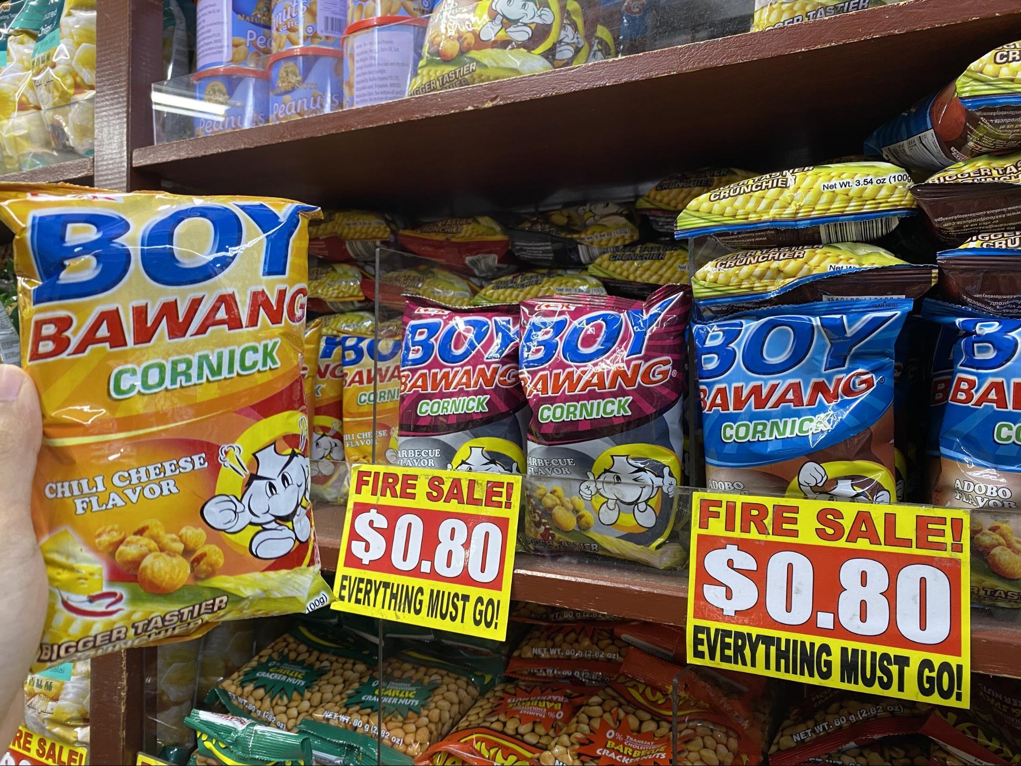 Boy Bawang Cornick snacks at the Value Dollar Store