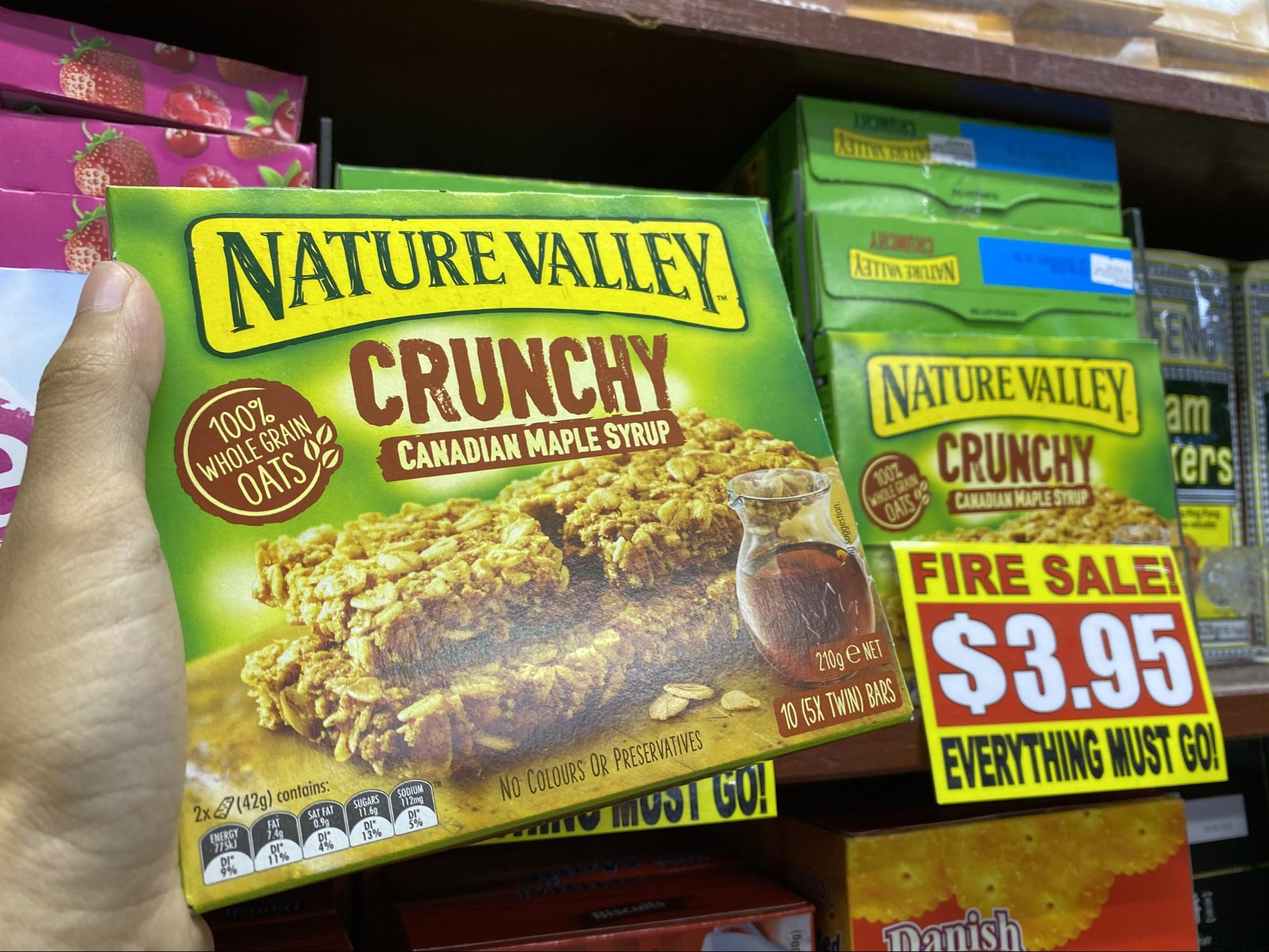 Nature Valley granola bars at the value dollar store in Singapore