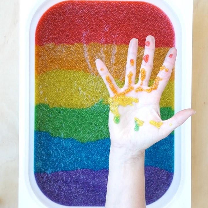 DIY coloured chia sensory tray