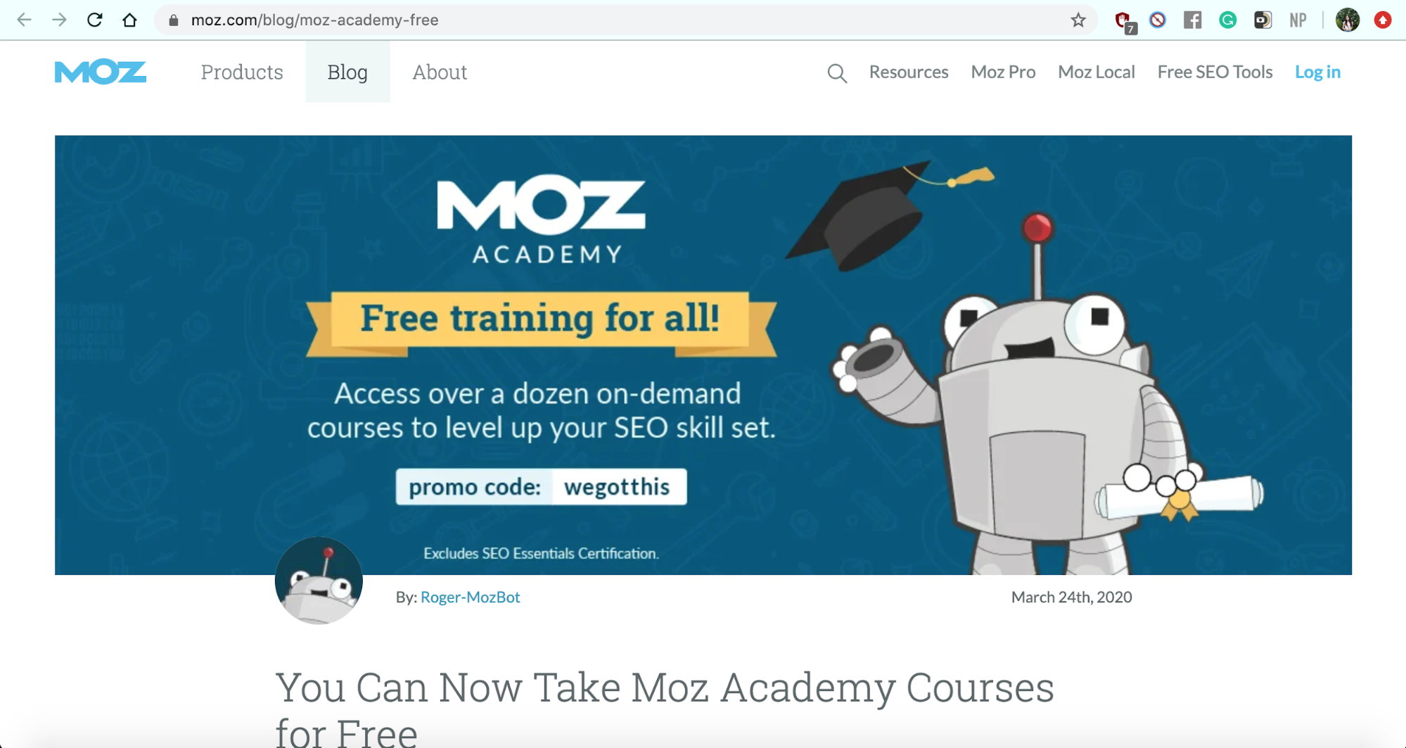 Free courses and software: Moz