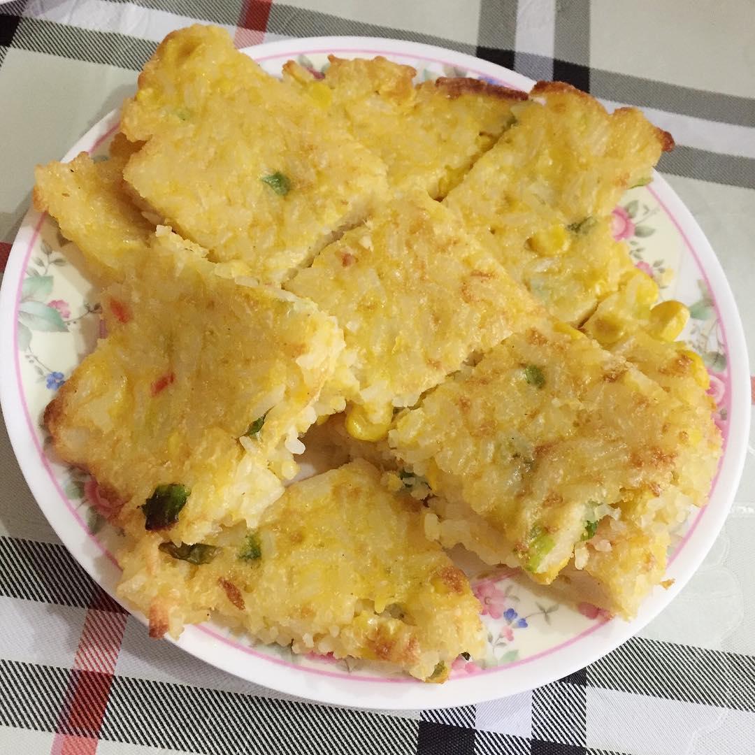 fried rice egg pancake