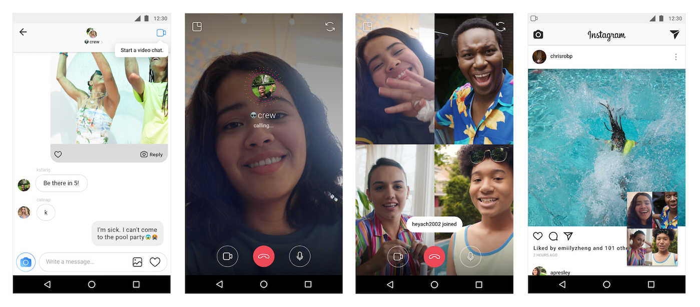 Instagram allows you to perform video calling while scrolling your feed.