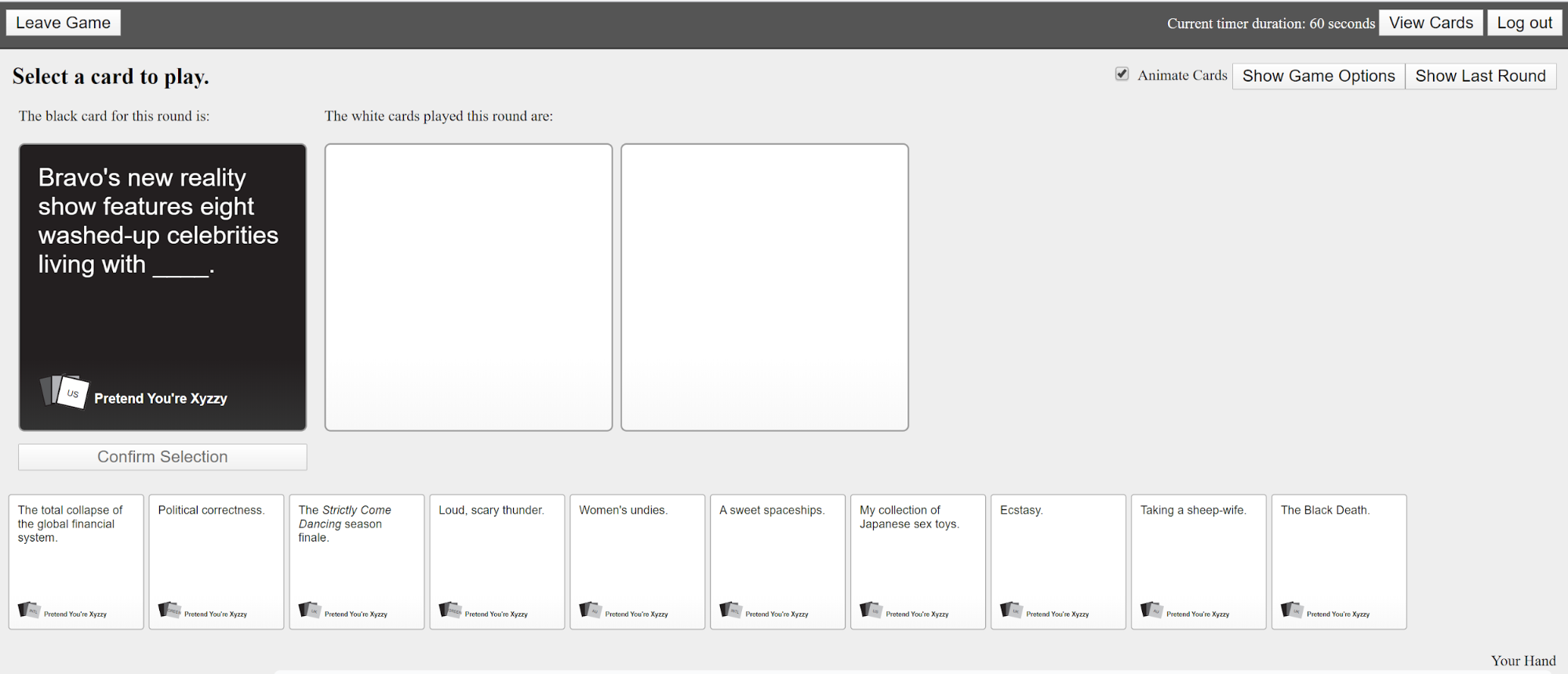 cards against humanity - Free online games