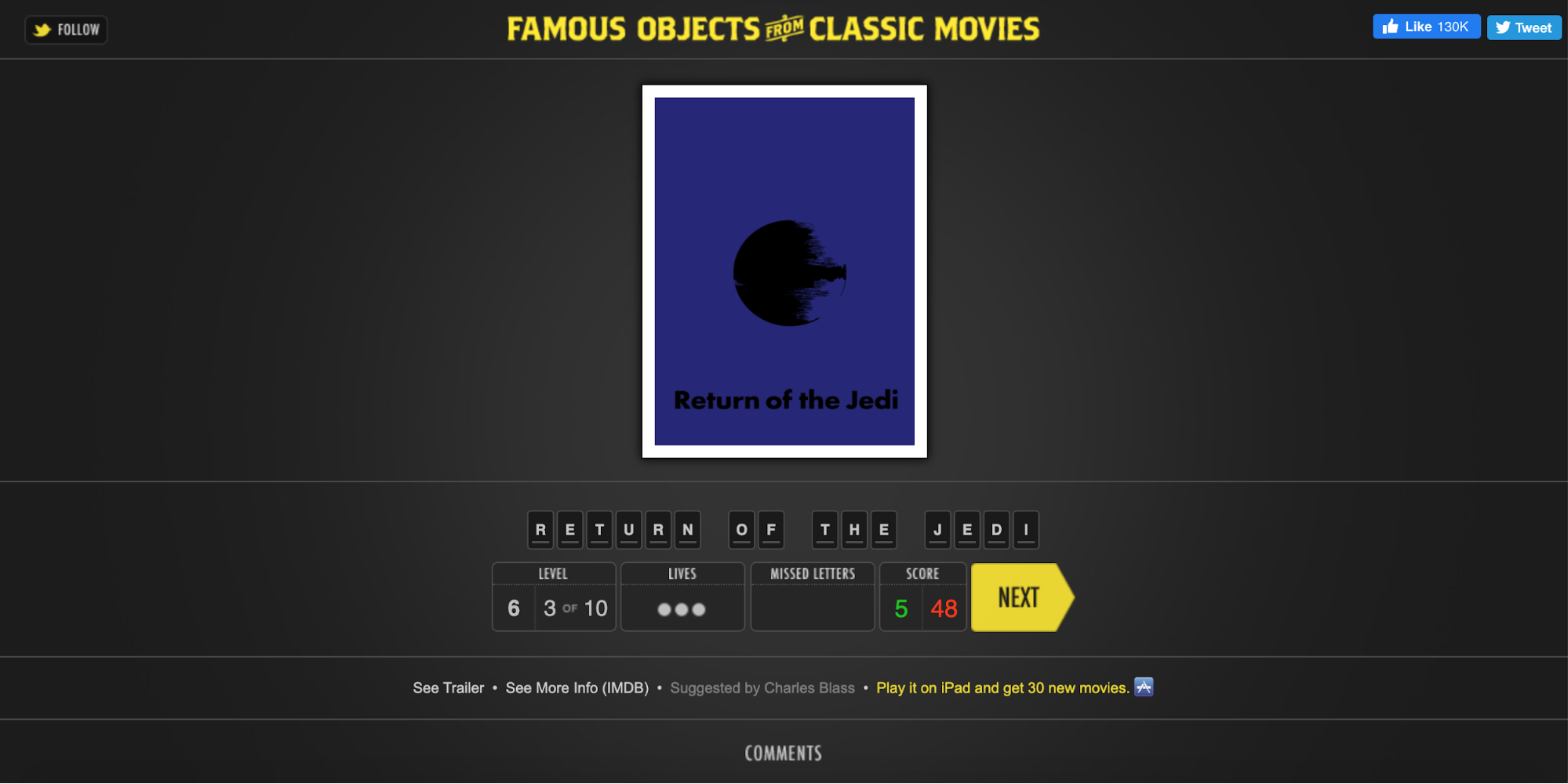 Online games: famous objects from classic movies