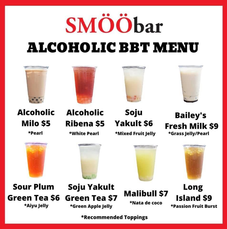 SMOObar alcoholic bubble tea menu