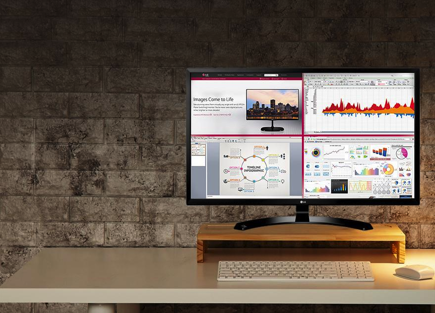 The LG32MA79HY-P allows you to split a massive 32-inch computer monitor into four sections for increased productivity.