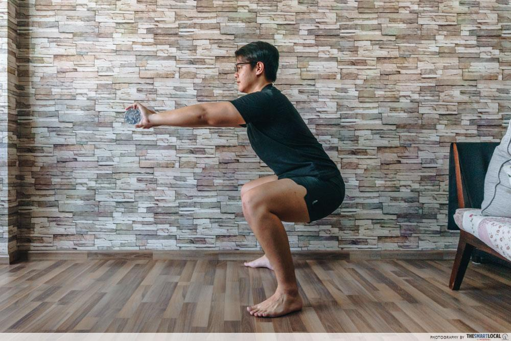 squats - home workouts using household items
