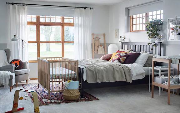 baby cot in bedroom