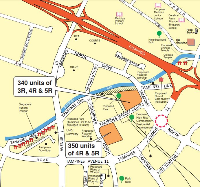 Map of Tampines August 2020 BTO launches.