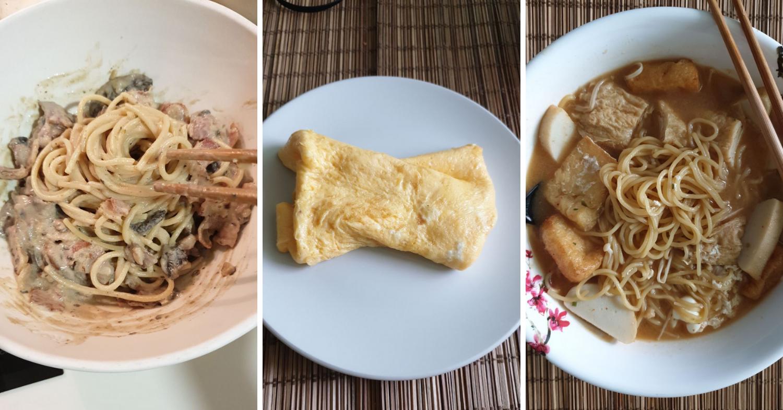 Easy pasta, eggs and ramen