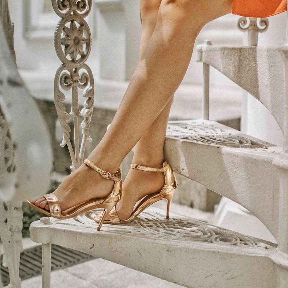 gena sg metallic rose gold heels