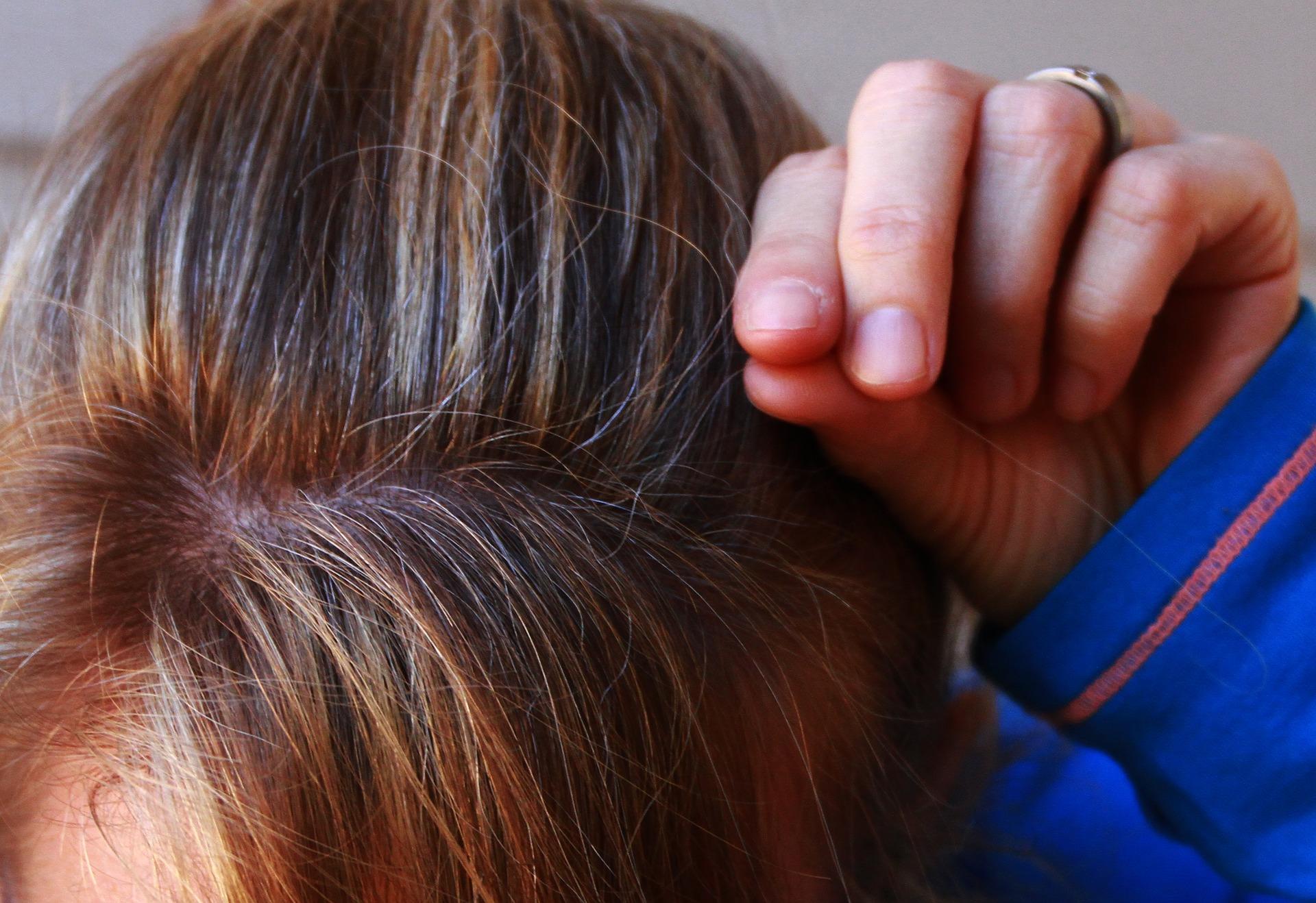 plucking grey hair