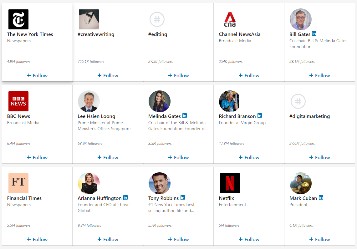 follow linkedin companies