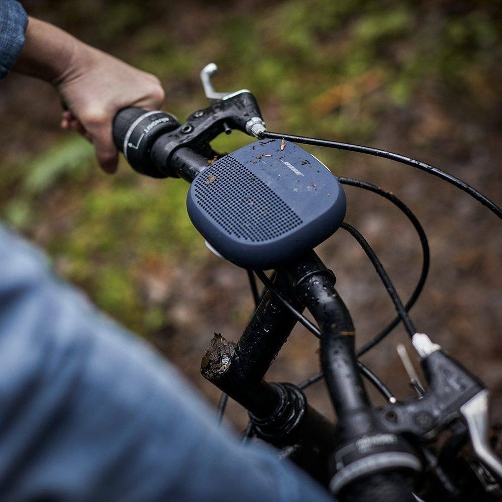 The Bose SoundLink Micro straps securely to your bicycle handlebars to take music along on your adventures.