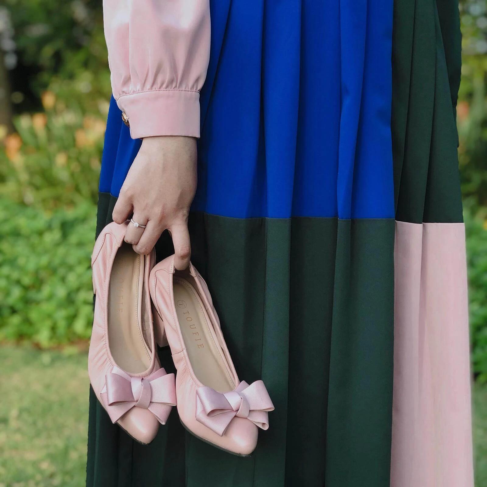 toufie bow rose sand shoes