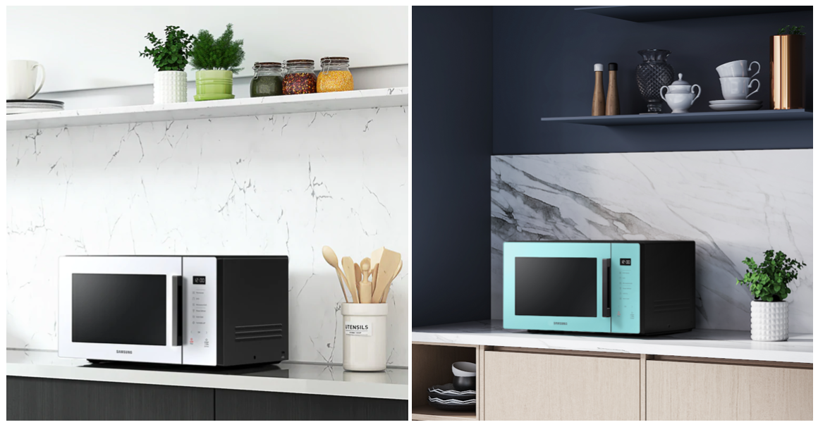 Samsung microwave oven in white and mint