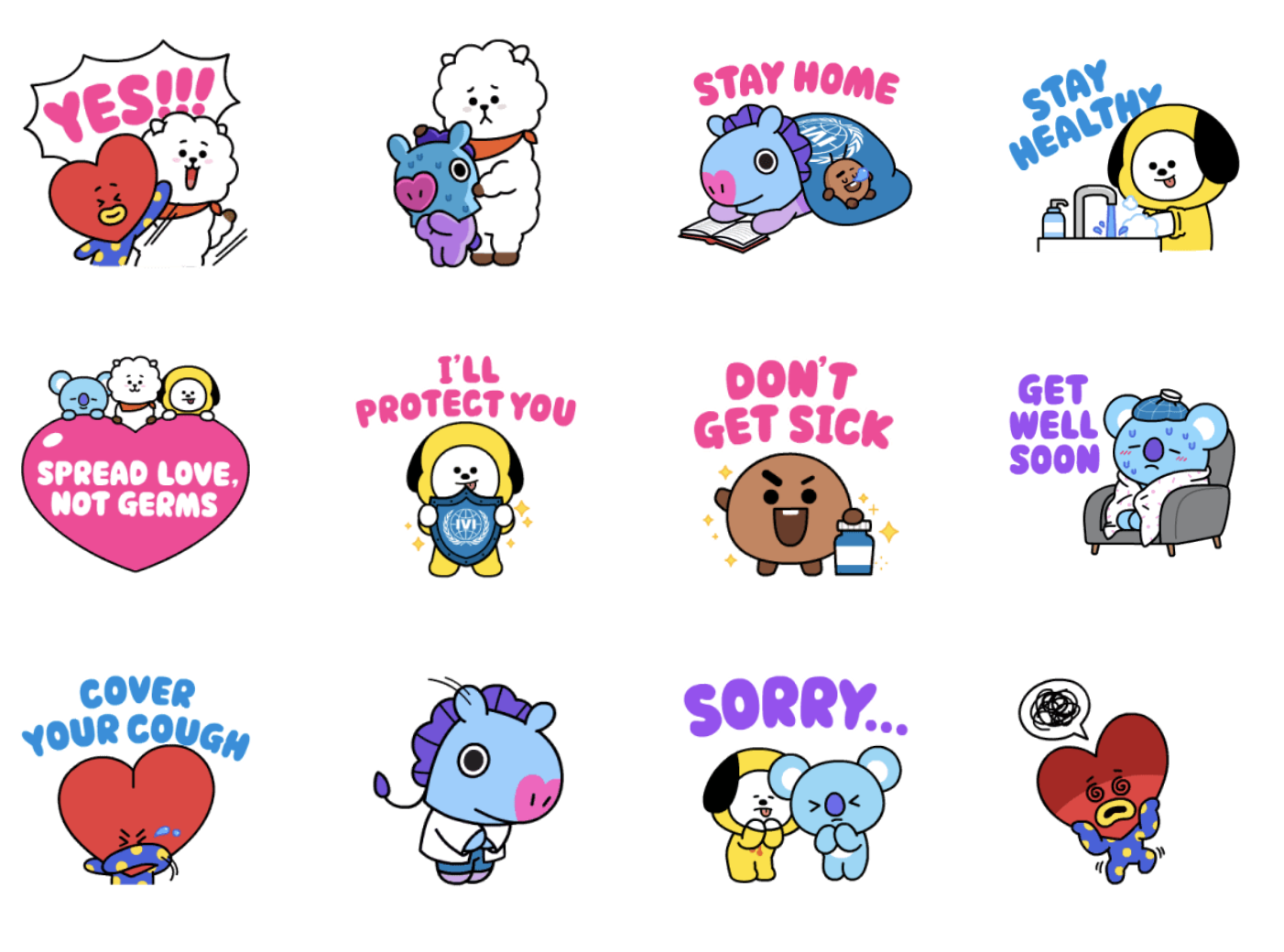 LINE BT21 Sticker Pack - 24 stickers available