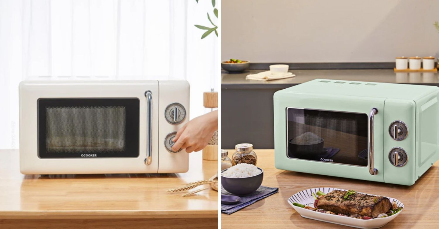 Xiaomi retro-style ocooker in mint and white