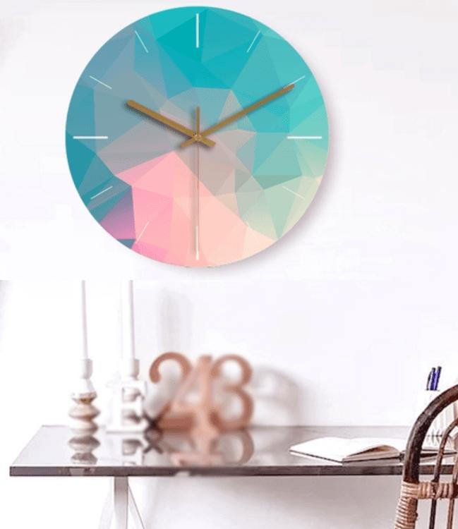 Modern Wall Clocks - Pastel Gradient Geometric Design