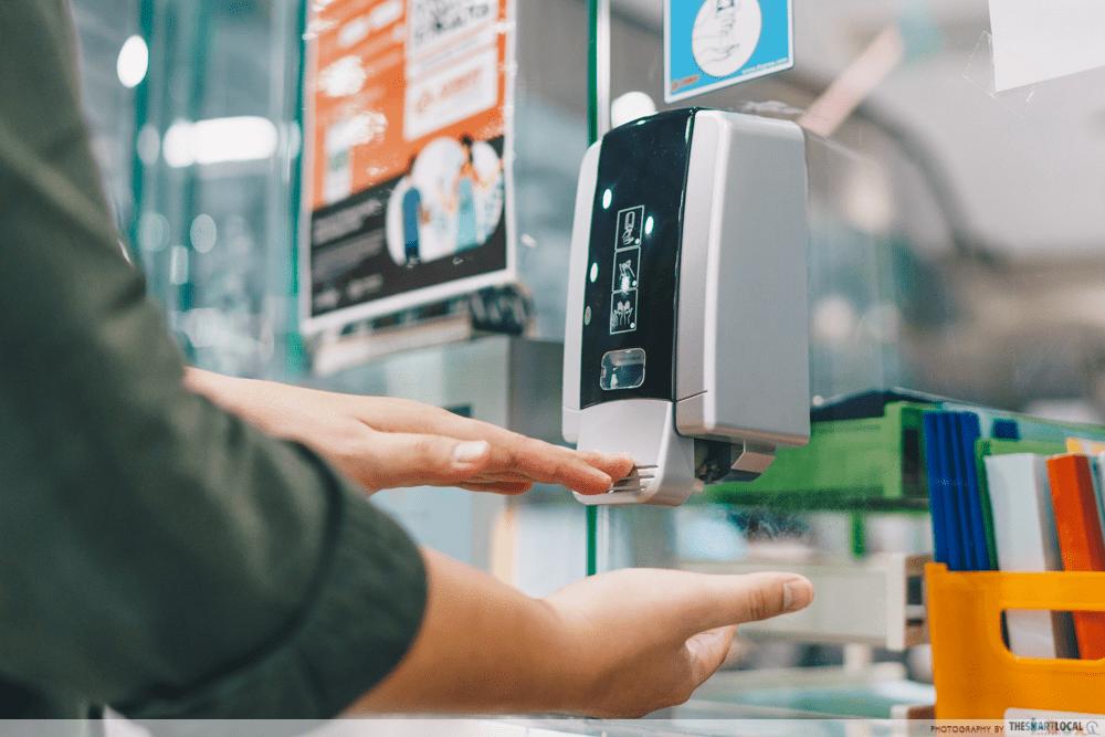 Public Transport Hacks - Free Hand Sanitiser MRT Station