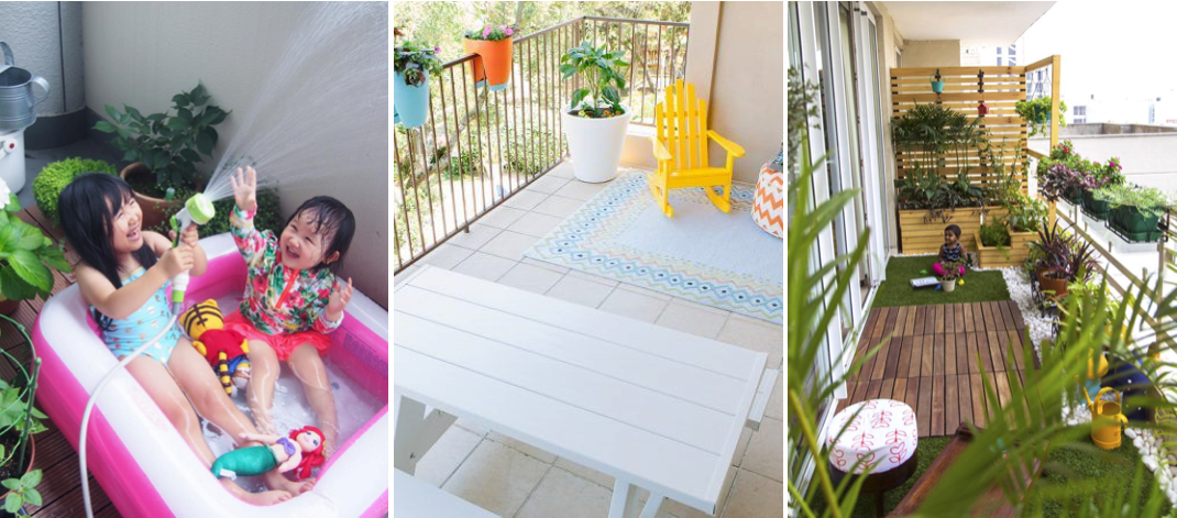 Your balcony can be turned into the perfect play area for kids with the right furniture like pools and flooring, along with safeguards.