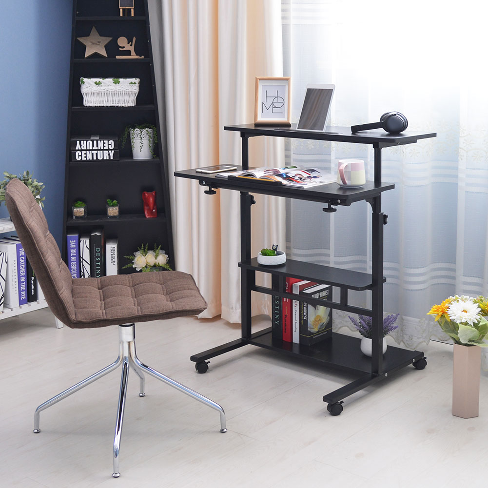 This movable study desk is also height-adjustable to allow for comfortable study sessions.