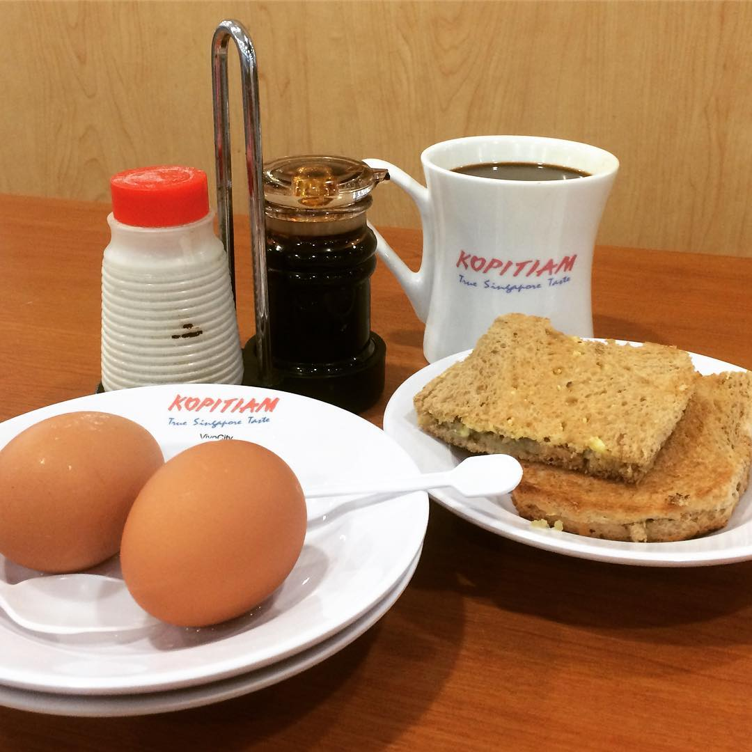 July 2020 Deals - enjoy $1 off the Kopitiam breakfast set which includes eggs, coffee and toast.